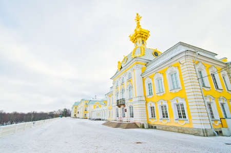 Big Palace in Peterhof, winter view, cold dome with double head eagle, St. Petersburg, Russia