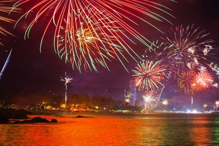 beautiful fireworks celebrating new year on patong beach thailand Stock Photo