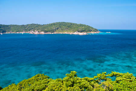 Top view of Similan island Thailand, Turquoise water of Andaman Sea. photo