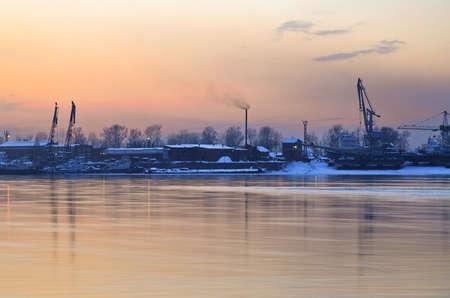 Sunset over Angara river photo