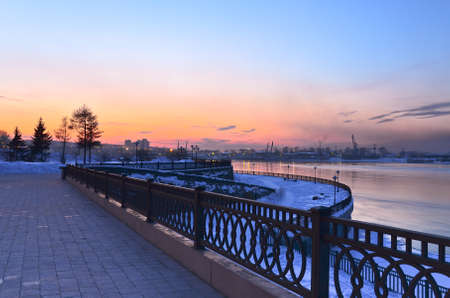 Sunset over Angara river photo