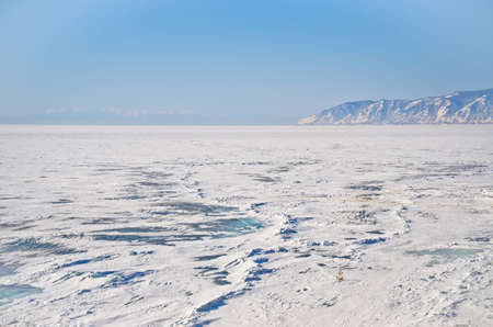 Frozen Baikal lake,Russia photo