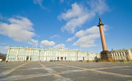 crown spire: View Winter Palace square in Saint Petersburg.