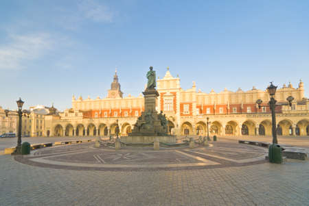 mickiewicz: Statue of Adam Mickiewicz, famous Polish poet, on the central market square in Krakow, Poland Stock Photo