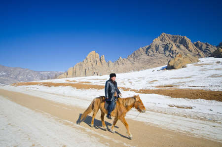 mongolia horse: ULAANBAATAR: MONGOLIA - FEB 25: Nomads riding on their faithful horses, Ulaanbaatar on February 25, 2012, The horses breed is purported to be largely unchanged since the time of Genghis Khan