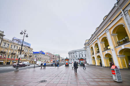 ST.PETERSBURG, RUSSIA - MARCH 4: Nevsky Prospect in March 4, 2012 in St.Petersburg, Russia. Prospect came shortly after founding of city in 18th century. Now it is main street, length of 4.5 km