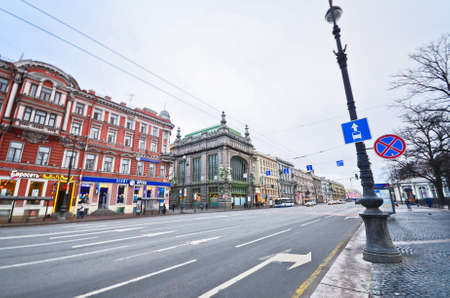 nevsky prospect: ST.PETERSBURG, RUSSIA - MARCH 4: Nevsky Prospect in March 4, 2012 in St.Petersburg, Russia. Prospect came shortly after founding of city in 18th century. Now it is main street, length of 4.5 km