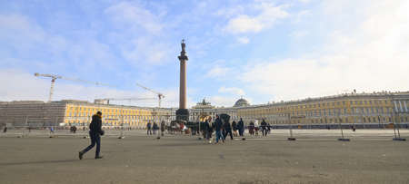 SAINT PETERSBURG, RUSSIA - MARCH 4: The Alexander Column at Palace Square in St. Petersburg on March 4, 2012. The monument was erected after the Russian victory in the war with Napoleons France.