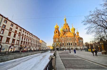 ST.PETERSBURG, RUSSIA - MARCH 4: The Church of the Savior on Spilled Blood is one of the main sights of St.Petersburg, March 4, 2012, St. Petersburg, Russia. Church was built in 1883-1907.