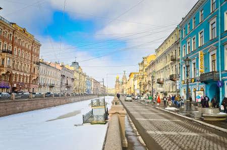 ST.PETERSBURG, RUSSIA - MARCH 4: Church of Savior on Spilled Blood in March 4, 2012 in St.Petersburg, Russia. Construction began in 1883 under Alexander III, as memorial to his father, Alexander II