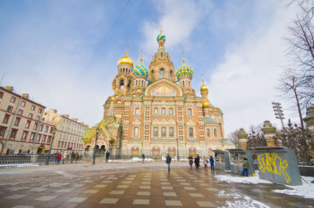 ST.PETERSBURG, RUSSIA - MARCH 4: Church of Savior on Spilled Blood in March 4, 2012 in St.Petersburg, Russia. Construction began in 1883 under Alexander III, as memorial to his father, Alexander II