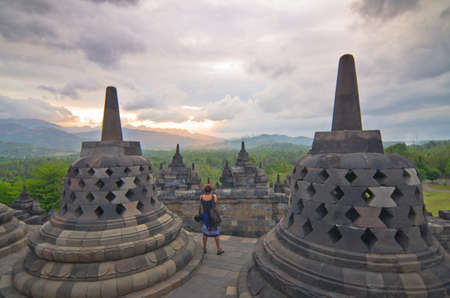 Buddist temple Borobudur on sunset. Yogyakarta. Java, Indonesia photo