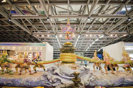 churning: BANGKOK - FEB 19: Scene of the Churning of the Milk Ocean sculpture at Suvanabhumi Airport on February 19, 2012, Suvarnabhumi airport is worlds 4th largest single-building airport terminal. Editorial