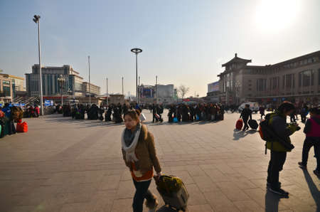 BEIJING-FEB 20, 2012. Beijing Railway Station on February 20, 2012 in Beijing. It was completed on Sept. 10, 1959, it has 8 platforms, covers 46,700 sq. meters and the Station Plaza 40,000 sq. meters.