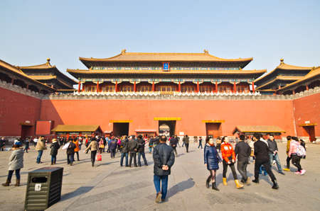 BEIJING - FEB 20:Visitors at the The Forbidden City on February 2012 in Beijing,China.The Forbidden City is Chinas top tourist attraction, drawing more than 7 million visitors a year.