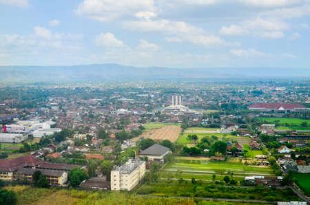 aerial view of Yogyakarta from air plane Stock Photo