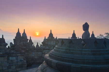 Sunrise Borobudur Temple Stupa in Yogyakarta, Java, Indonesia. photo