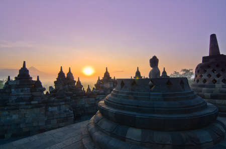 Sunrise Borobudur Temple Stupa in Yogyakarta, Java, Indonesia. Stock Photo
