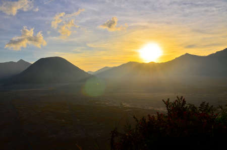 Volcanoes in Bromo Tengger Semeru National Park at sunset. Java, Indonesia photo