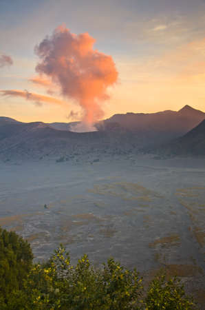 tengger: Volcanoes in Bromo Tengger Semeru National Park at sunset. Java, Indonesia Stock Photo