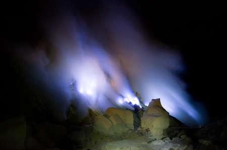 sulfur: Kawah Ijen volcano, East Java - blue sulfur flames.