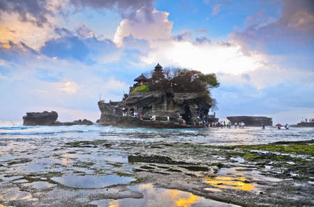 The Tanah Lot Temple, the most important indu temple of Bali, Indonesia. photo