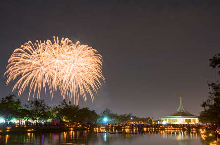 '5 december': BANGKOK, THAILAND - DEC 5, Fireworks at Suan Luang Rama IX ,5 December 2013.People gathering here at to see firework and celebrate His Majesty the Kings birthday.