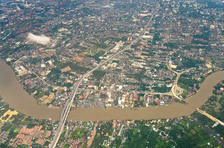aerial view of Bankok from air plane photo