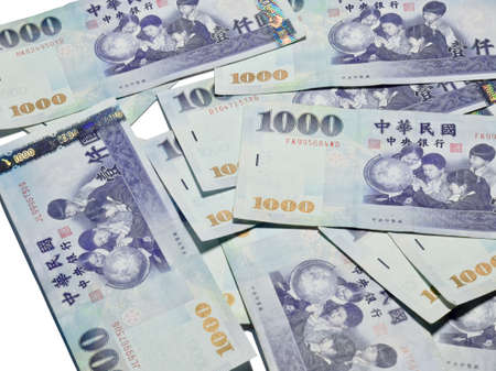 nt: A lot of 1000 New Taiwan Dollars bill on white background