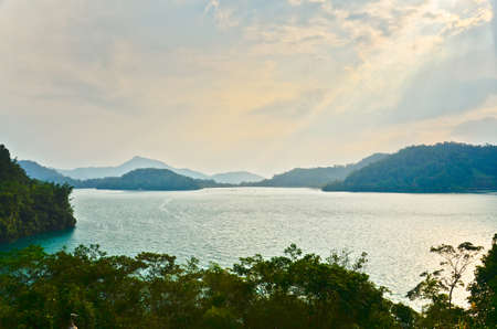 Aerial view of famous Sun Moon lake in Taiwan photo