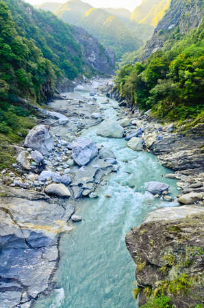 Rocky River in Toroko Gorge in Taiwan photo