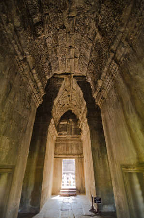 Ancient corridor at Angkor Wat in Siem Reap, Cambodia. photo