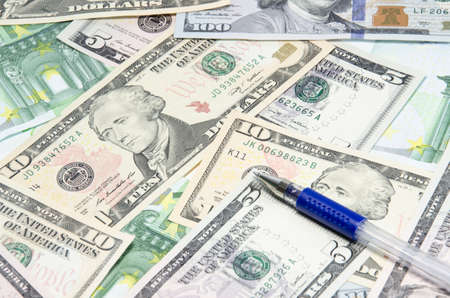 stockholder: Two leading hard currencies - US Dollar and Euro Stock Photo