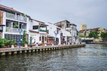 MALACCA, MALAYSIA - MAY 11: Landscape of Malacca city along Melaka river on May 11, 2014 in Malacca, Malaysia. Malacca has been listed as a UNESCO World Heritage Site since 7 July 2008.