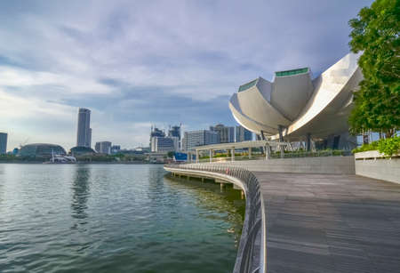 6 12: SINGAPORE - MAY 12: Art Science Museum on May 12, 2014 in Singapore. Attractions at Marina Bay Sands. Museum area 6,000 square meters. Editorial