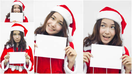 Collage of Asian Santa Claus female with white card photo