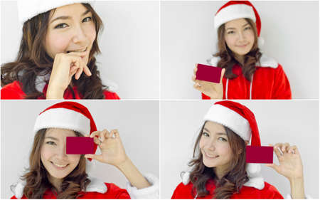 Collage of Asian Santa Claus female showing red card photo