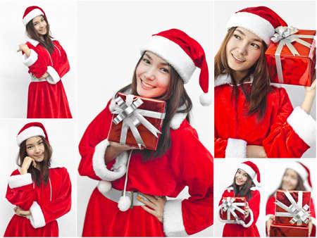 Collage of Asian Santa Claus female photo
