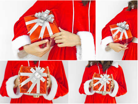 collage of santa claus with red box present photo