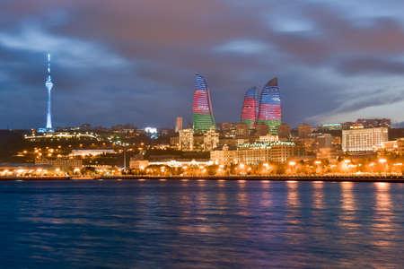 baku: Panorama of seaside boulevard in Baku Azerbaijan Editorial