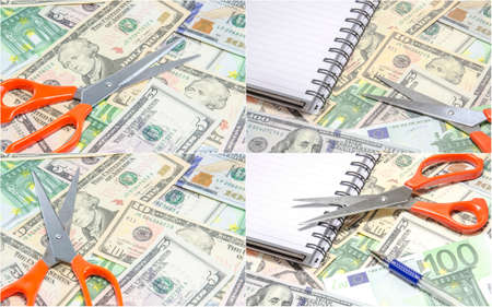 austerity: collage of financial planning