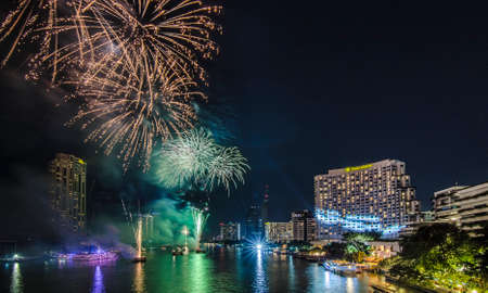 happening: Bangkok, Thailand - 1 January 2016 : The fireworks celebrating year 2016 happening on the Chao Praya riverside which is one of the main landmark in Bangkok to celebrate this special occasion