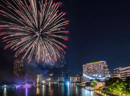 chao praya: Bangkok, Thailand - 1 January 2016 : The fireworks celebrating year 2016 happening on the Chao Praya riverside which is one of the main landmark in Bangkok to celebrate this special occasion
