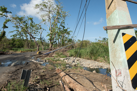 Roadside scene in  Puerto Rico after Hurricane Marie showing damage to power lines Stock Photo