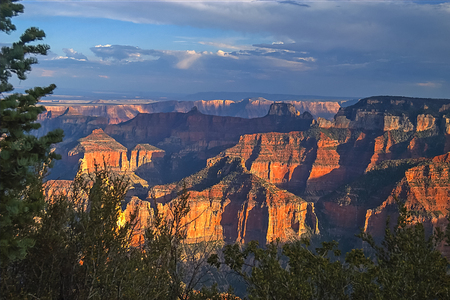Grand Canyon from the North Rim at Sunset Stock Photo