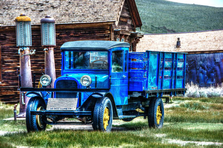 Antique truck with two antique gas pumps - Bodie, CA Stock Photo