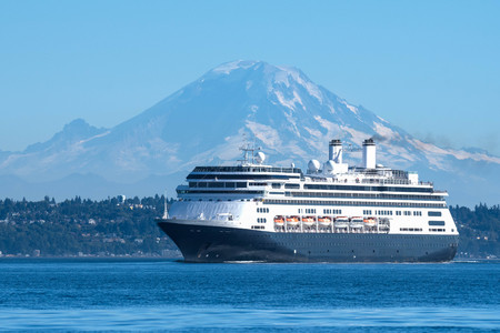 Cruise ship leaving Seattle on her way to Alaska with Mount Rainier in the background.
