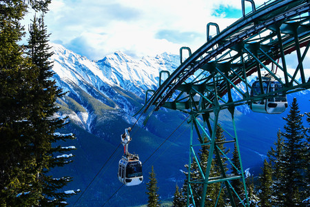 View of Canadian Rocky Mountains from Banff Gondola Banque d'images