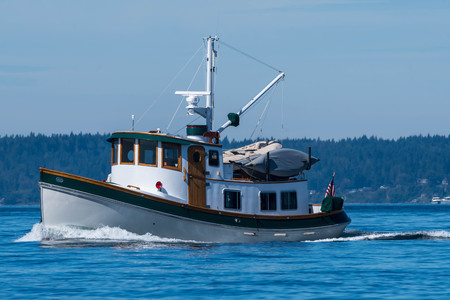 Popular type yacht, tug on her way to Seattle