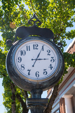 Town clock in front of City Hall in small town, Washington State